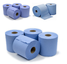 6 x Workshop Hand Towels Rolls 2 Ply Centre feed Rolls Wipes Embossed
