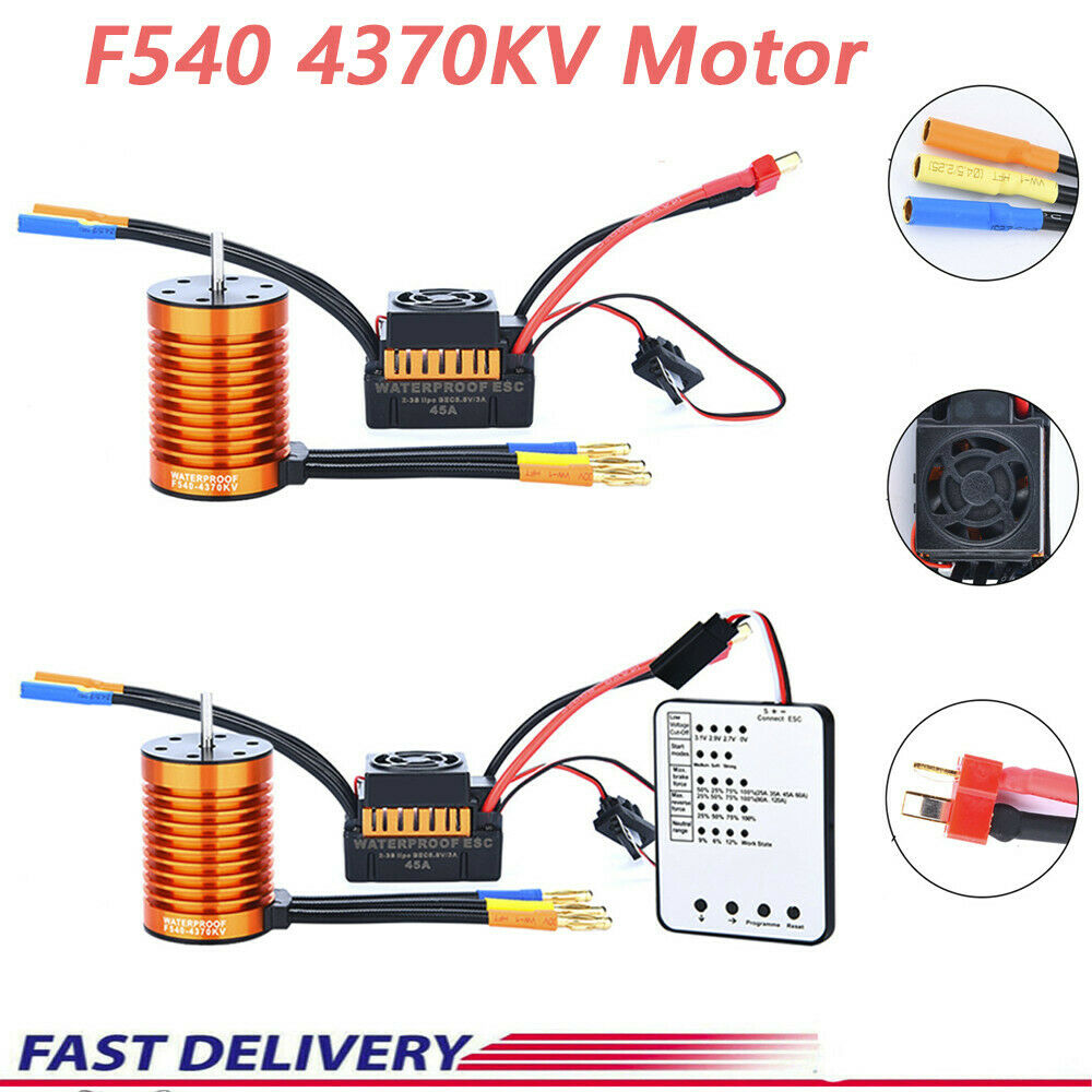 F540 4370KV Waterproof Brushless Motor&45A ESC For 1 10 10 10 RC Racing Cars Boats 466f19