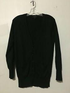 100 Lomme Stilig Top Kvinder S Sort Merino Cardigan crew J Sweater Størrelse Uld aPq7P5