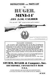 ruger mini 14 223 5 56 rifle instruction owner s manual parts rh ebay com Mini-14 Bolt Disassembly Best Mini-14 Scope Mount