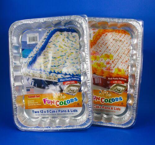 13X9 Blue ALUMINUM PARTY CAKE PAN W//LID HANDI FOIL USA 8 Disposable Baking Pans
