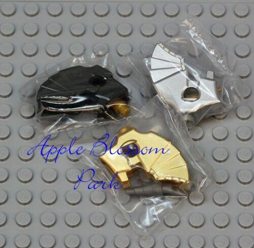 NEW Lego Lot//3 Castle HORSE BATTLE HELMET Minifig Animal Silver Gray Gold Weapon