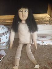 "VINTAGE OLD WOOD JAPANESE/CHINESE DOLL 28"" UNUSUAL"