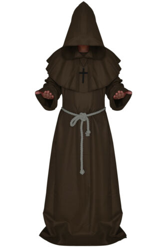 Friar Medieval Hooded Monk wizard Priest Robe Cloak Cowl Cosplay Costume