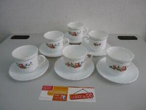 LOT-de-6-Tasses-soucoupe-Fleurs-Arcopal-Vintage-ancien