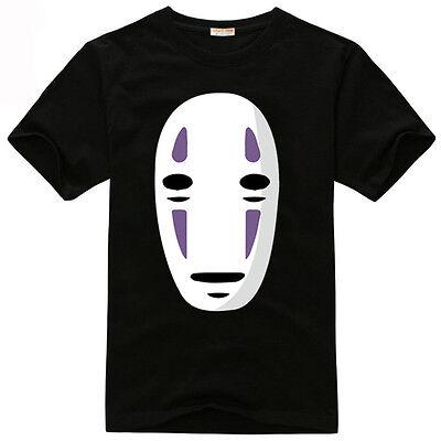 Miyazaki Hayao Spirited Away No-Face Man Cosplay Black T-shirt Free shipping