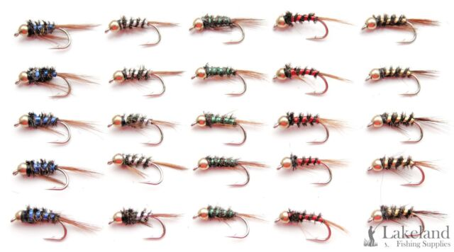1 DOZEN  TUNGSTEN HEAD BROWN AND RED NYMPHS FOR FLY FISHING-TUNG 14