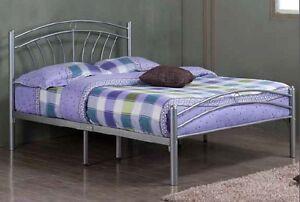 Luna Silver Metal Bed Frame Mesh Base Double Locking Various
