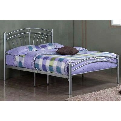 Luna Silver Metal Bed Frame - Mesh Base, Double Locking, Various Sizes