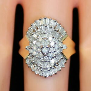 Gorgeous-Vintage-Estate-10K-Gold-75-Ct-Baguette-amp-RB-Diamond-Cluster-Ring