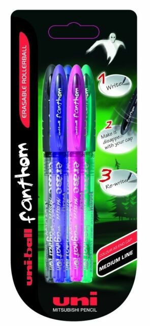 Uni-Ball Fanthom Erasable Ink Rollerball pens. Assorted Pack of 5 Crossword Pens