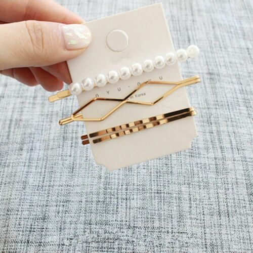 1 Set Korean Imitation Pearl Metal Hair Clip Irregular Bobby Hairpin Combination