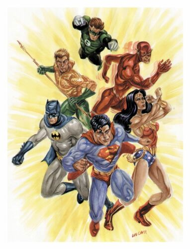 MARVEL DC STARWARS TREK 8.5 in WATERCOLOR POSTERS//PRINTS signed by LEE OAKS!