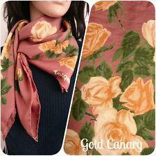 """Vintage Jacqmar 50s Brown Floral Painted Rose Silk Scarf 29"""""""