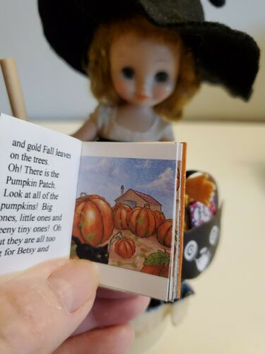 Miniature readable book Betsy /& Hitty/'s Halloween /& mini witch for Hitty doll