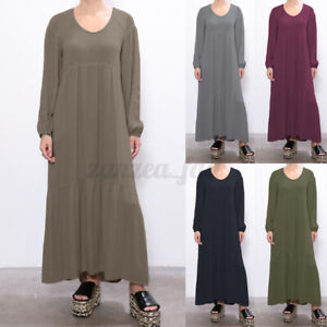 Damen-Langarm-Plain-Basic-Casual-Loose-Tiered-Kaftan-die-Abaya-Tunika-Maxikleid