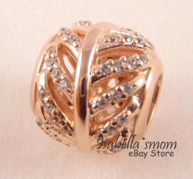 a4359af45 LIGHT AS A FEATHER Authentic PANDORA Rose GOLD Plated Charm 781186CZ NEW w  POUCH