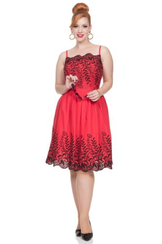 DRA8342 Voodoo Vixen Scarlett Red Embroidered Rockabilly 1950S Evening Party UK