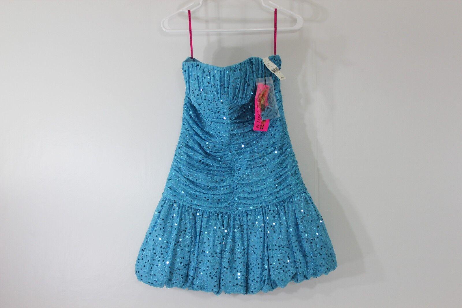 Betsy Johnson Womens 10 Aqua bluee Strapless Halter Sequin Formal Prom Dress NEW