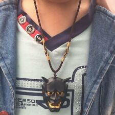 Vintage Black Evil Oni Noh Hannya Mask Necklace Theme Resin pendant Masks