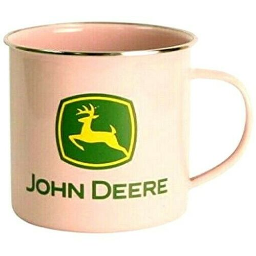 JOHN DEERE PINK STAINLESS STEEL ENAMELWARE MUG CUP COFFEE TEA LARGER SIZE NEW