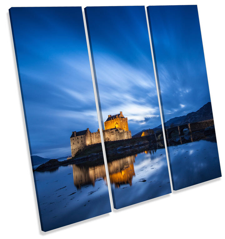 Eilean Donan Castle Scotland TREBLE CANVAS WALL ART Square Picture Print