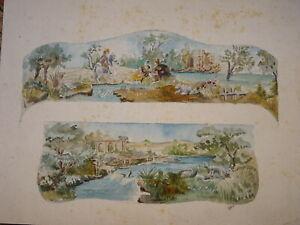 Ecole-FRANCAISE-XIX-DESSIN-AQUARELLE-PROJET-TAPISSERIE-AMEUBLEMENT-XVIII-1900