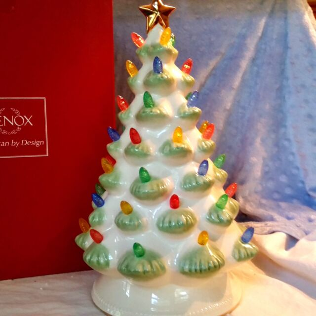 lenox treasured traditions ceramic christmas tree centerpiece led lights nib - Ceramic Christmas Decorations