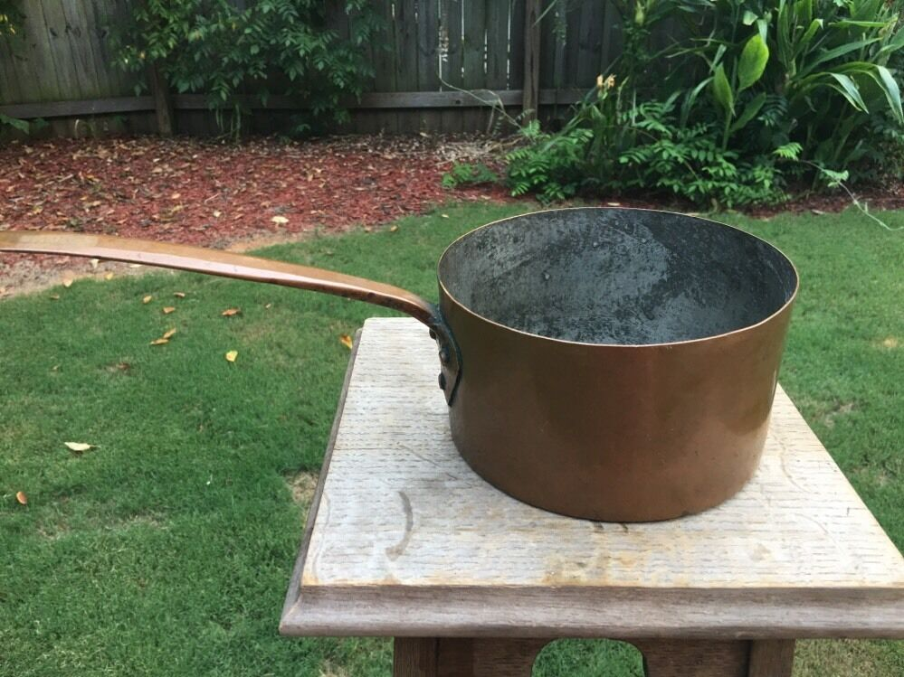 Antique  7 7 7  Copper Sauce Pan Dovetail Construction Copper Handle b25f7c