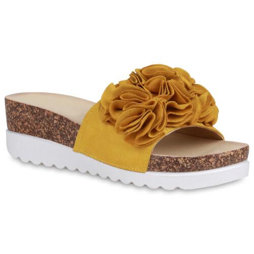 Damen Sandaletten Pantoletten Volants Kork-Optik Sommer 834903 Schuhe