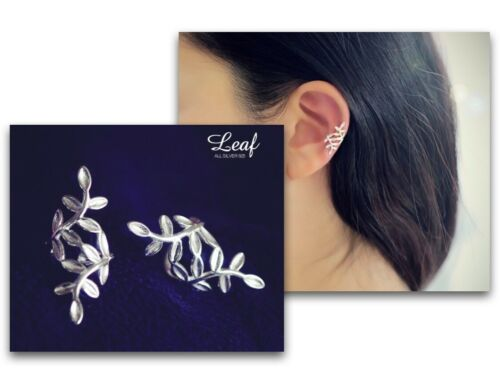 Curved Leaves Cuff Earrings Sterling Silver Gift For Women Girls Daily Fashion