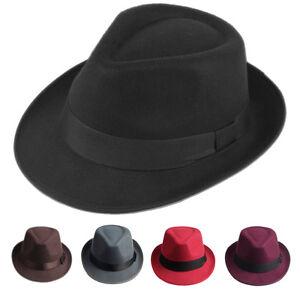 98c98c8ed Details about Retro Unisex Hard Felt Fedora Trilby Hat Gangster Cap Ribbon  Band for Women Men