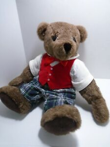 RUTH-ELLIOTT-BEARS-17-034-Jointed-Brown-Teddy-Bear-Red-Vest-Plaid-Pants-Tagged-45
