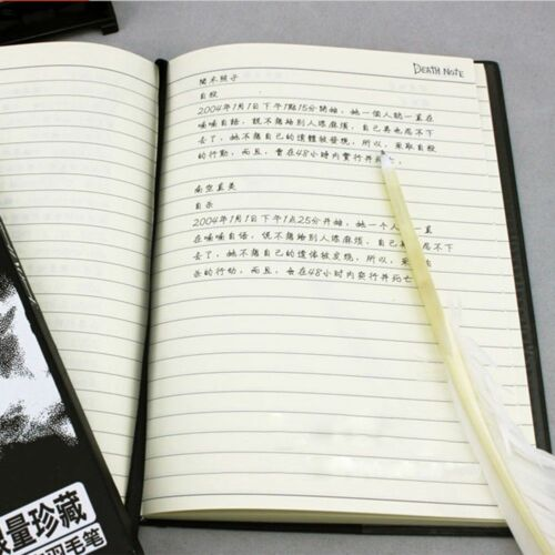 2pcs Notebook /& Feather Pen Writing Journal Anime Theme Cosplay Book Death Note