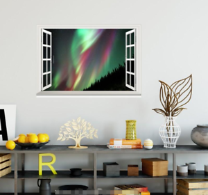 3D Green Light View 0415 Open Windows WallPaper Murals Wall Print AJ Jenny