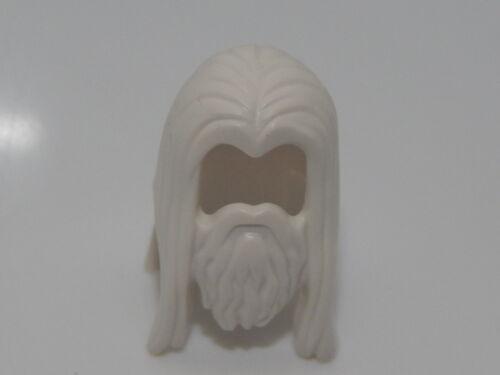 Lego Minifigure White Hair Long Straight with Center Part Beard  HP#17