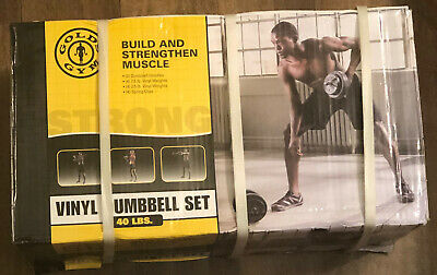 New Gold/'s Gym Vinyl Dumbbell Set 40lbs Weight Lift Adjustable FAST SHIP In Hand