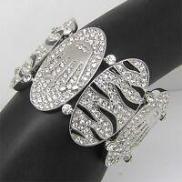 Elegant silver plate Bracelet Bangle Cuff W swarovski crystal B249