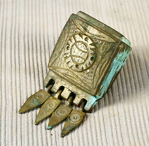 ANTIQUE 18`c ISLAMIC Ottoman Empire CARTRIDGE BRASS BOX Еngraved Bronze Palaska