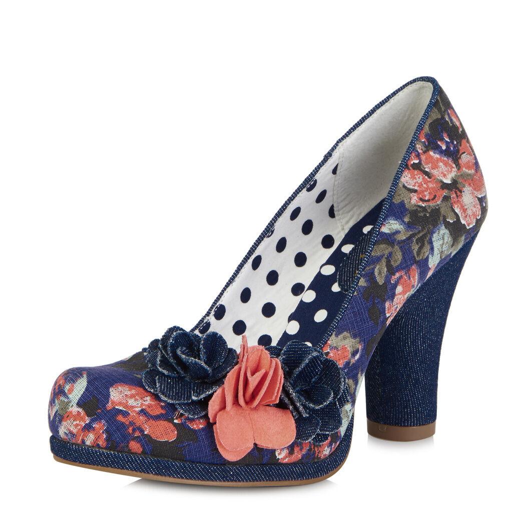 Ruby Shoo NEW Eva floral navy blue denim high heel vintage style court shoes 3-9