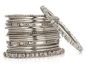 Jwellmart Indian Bollywood Oxidized Silver Look Metal Bangle Set
