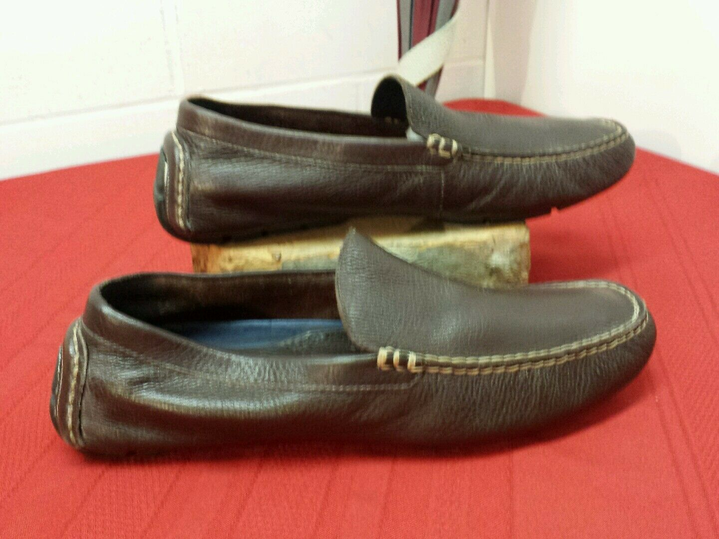 MEN'S LEATHER RALPH LAUREN ON POLO SLIP ON LAUREN LOAFER SHOES SIZE- See Measurements 36da02