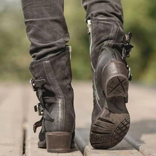 Retro Womens Ankle Boots Buckle Western Biker Strappy Low Heel Punk Shoes US SZ