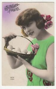 Hereuses-Paques-Vintage-Glamour-RP-Postcard-France-319a