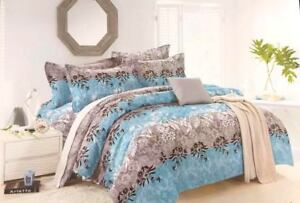 Striped-Floral-Design-Luxury-Duvet-Cover-Bedding-Set-with-Pillowcases-Grey-Blue