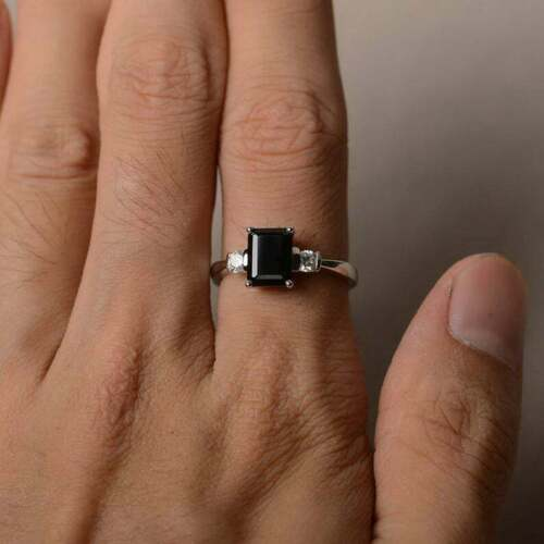 Details about  /925 Sterling silver Emerald Black Spinel Gemstone Wedding Cocktail Party Ring