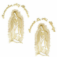 Iron On Embroidered Patch Virgin Mary Maria Guadalupe Mother Of God Silver Gold