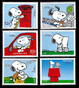 Portugal-Set-of-Six-Snoopy-stamps-Peanuts-MNH