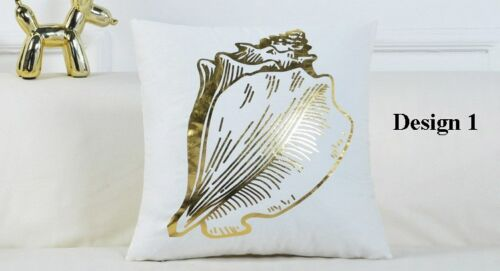 Nautical gold dolphin heart starfish conch anchor stripes pattern  cushion cover