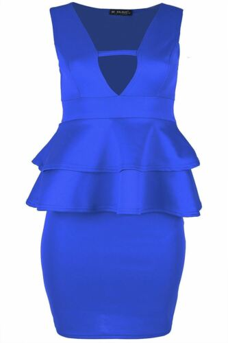 PLUS SIZE DONNA BODYCON SPLIT Collo a V sul retro doppio volant Peplo Mini Abito
